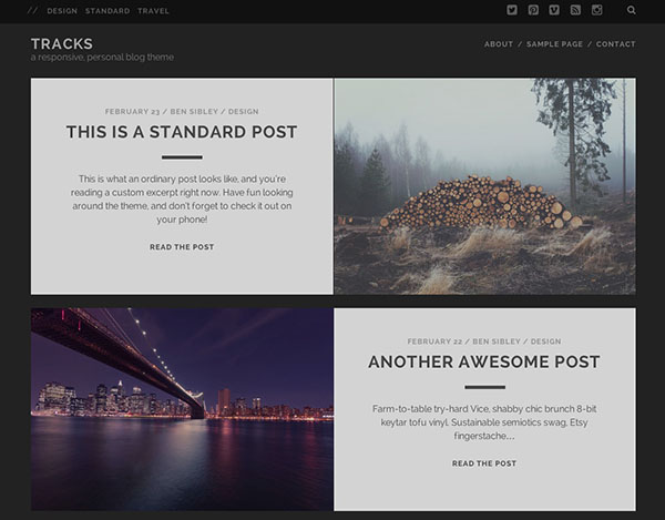 Tracks is another free WordPRess theme