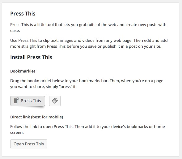 The new WordPress Press This feature