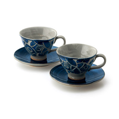 椿彫りペアコーヒーセット