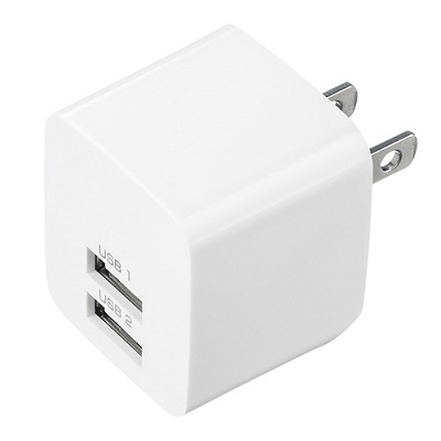 USB充電器(2ポート・合計2.4A・ホワイト)