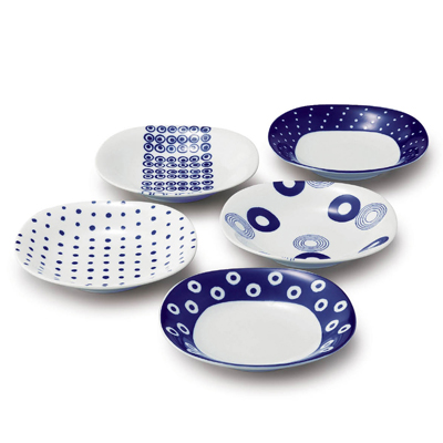 藍丸紋 パスタ&カレー皿揃