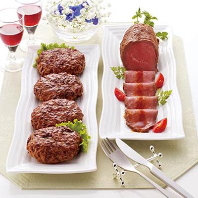神戸牛ハンバーグとオーストラリア産牛ローストビーフ