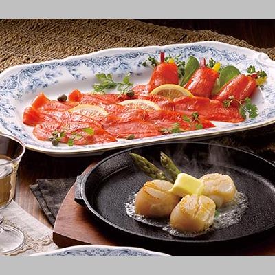 紅鮭のスモークサーモンと帆立貝柱