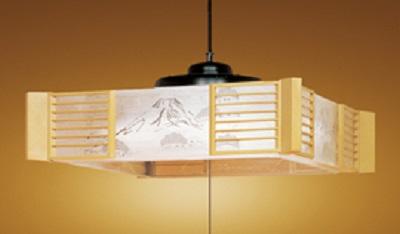 NEC LEDペンダントライト LIFELED'S 調光タイプ 和風 富士・松柄入り透明樹脂セード 白木調樹脂飾り ~12畳 HCDD1210