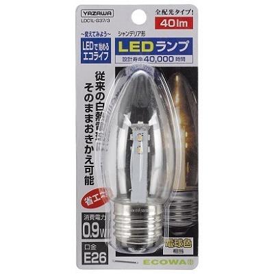 YAZAWA シャンデリア形LEDランプ 口金E26 電球色相当 LDC1LG373