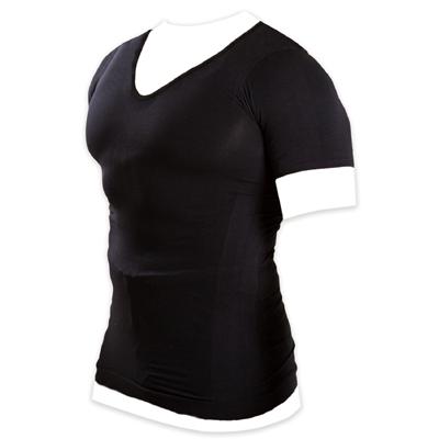 メンズ加圧シャツ Vネック ブラック Lサイズ
