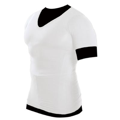 メンズ加圧シャツ Vネック ホワイト Lサイズ