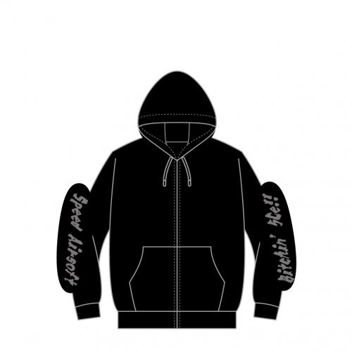 hoody-full zip/5Cell ブラック