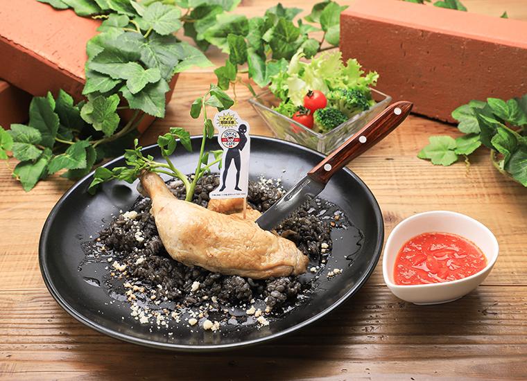 犯人の暗黒リゾット~鶏肉のコンフィをのせて~