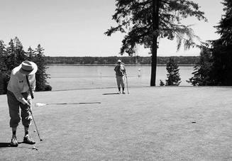ゴルフ場にリュックは