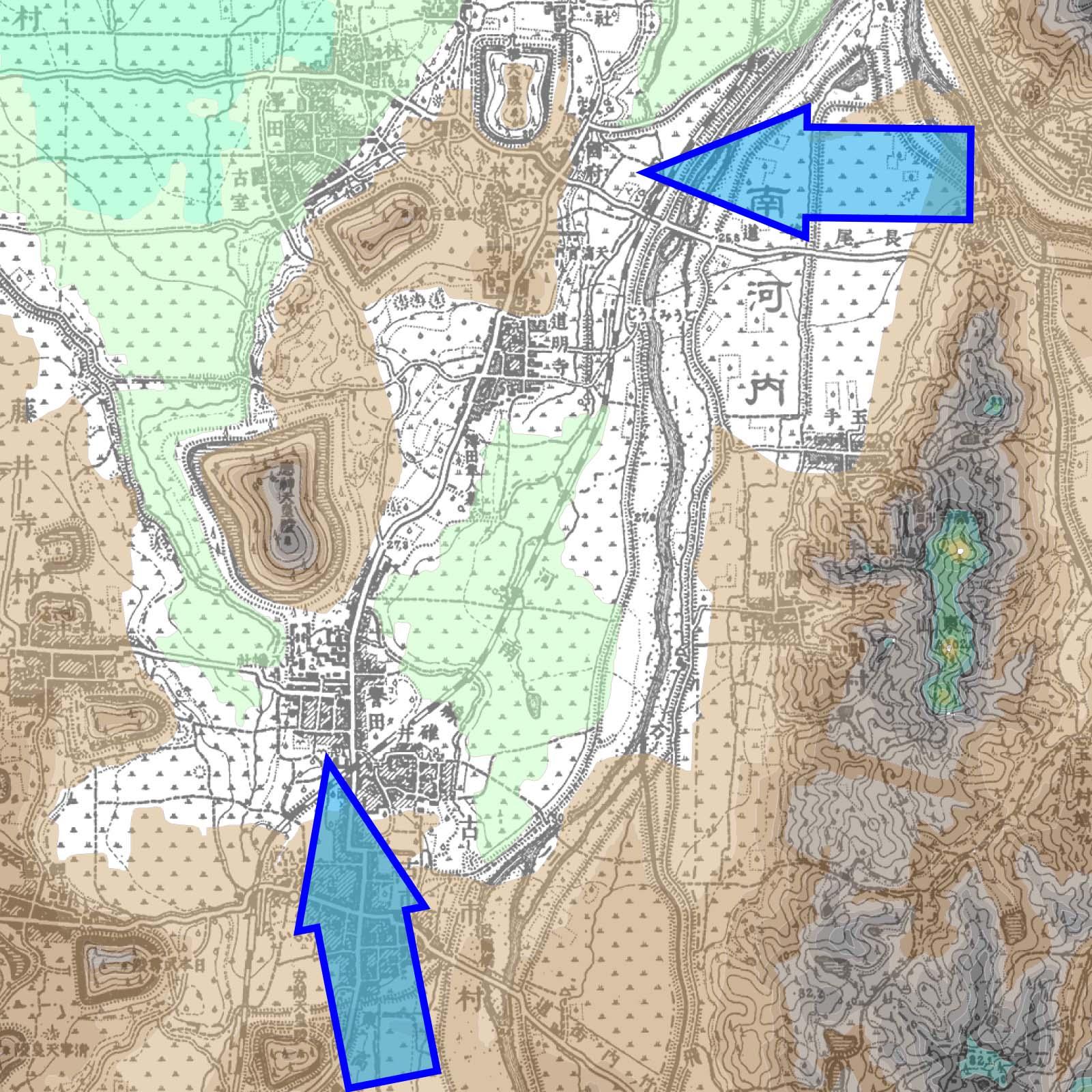 古墳は土石流対策の灌漑施設?