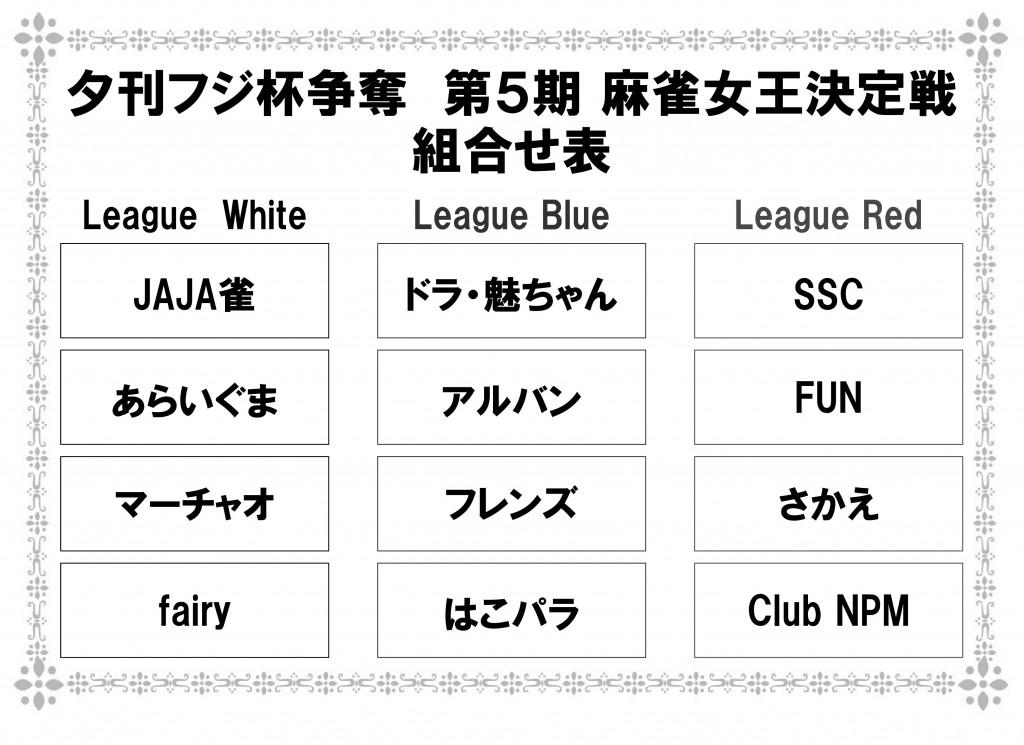 第5期 夕刊フジ杯 麻雀女王決定戦 チーム紹介(League White)