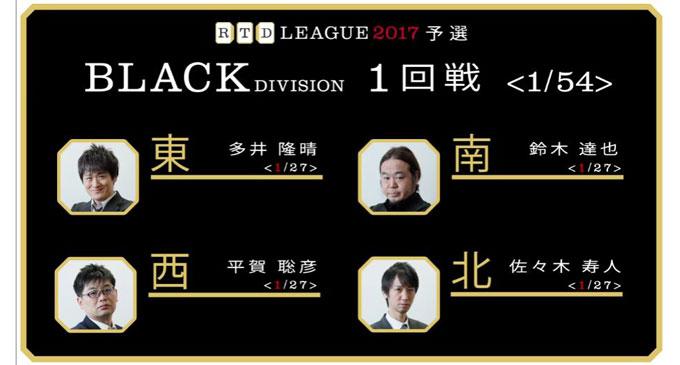 意志のあるチートイツで佐々木が開幕戦を制す!RTDリーグ2017 BLACK DIVISION 第1節 1、2回戦レポート