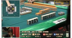 最高位戦Aリーグ 第1節 注目の一局!三軒立直を受けた園田賢プロの対応!