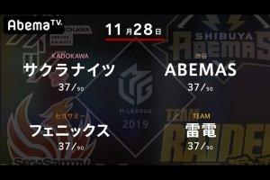【11/28 Mリーグ 結果】ABEMASが白鳥、日向の連勝で一気に3位に浮上!多井不在ながらも大きくポイントを伸ばす!