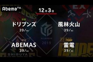 【12/03 Mリーグ 結果】第一試合は雷電・瀬戸熊が個人首位に浮上するトップ!第二試合は風林火山・滝沢がトップでチームを首位に押し上げる!