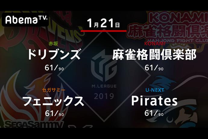 園田 VS 藤崎 VS 和久津 VS 小林 それぞれに重要な意味を持つ終盤の1戦!【Mリーグ 1/21 第1試合メンバー】