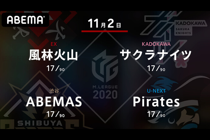 滝沢 VS 内川 VS 松本 VS 石橋 11月の開幕戦は華々しく若々しい男性陣の対局!【Mリーグ2020 11/2 第1試合メンバー】
