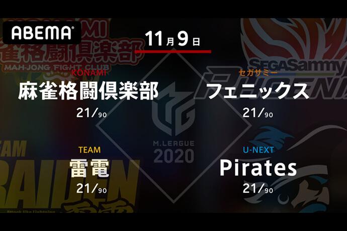 前原 VS 茅森 VS 瀬戸熊 VS 朝倉 ポイントマイナスの4チーム、一歩抜け出すのは!?【Mリーグ2020 11/9 第1試合メンバー】