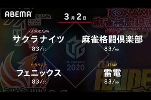 沢崎 VS 前原 VS 和久津 VS 瀬戸熊 2位、4位、5位、6位のチームの戦い!重厚なメンバーでの大事な終盤戦!【Mリーグ2020 3/2 第1試合メンバー】