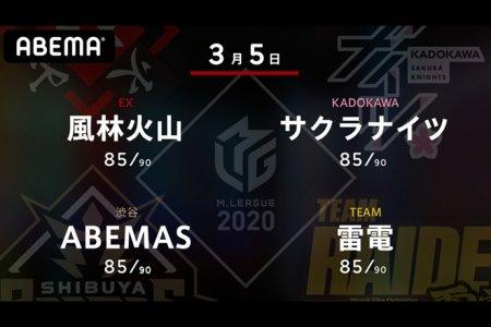 滝沢 VS 堀 VS 多井 VS 萩原 3位、2位、1位、6位のチームの戦い!雷電にとっては負けられないセミファイナルに向けての最終局面!【Mリーグ2020 3/5 第1試合メンバー】