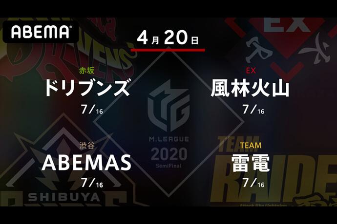 園田 VS 滝沢 VS 日向 VS 瀬戸熊 昨日勝利を挙げた滝沢、瀬戸熊が出場!ファイナル出場に向けて更なるプラスを狙う!【Mリーグ2020 4/20 第1試合メンバー】