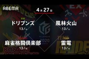 【4/26 Mリーグ2020 2戦目結果】雷電・黒沢が1回の跳満ツモのリードを守りきる!多井は5巡目6面張リーチが空振りに