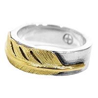ウィングロック K18 金 フェザー 指輪 リング シルバー × ゴールド画像