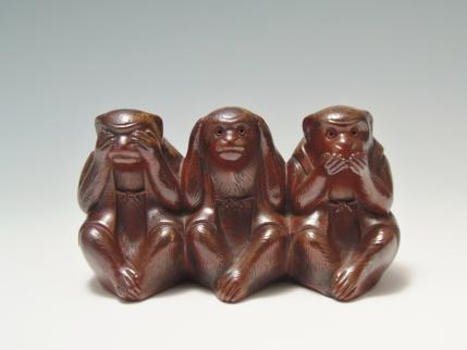 三猿 置物 骨董