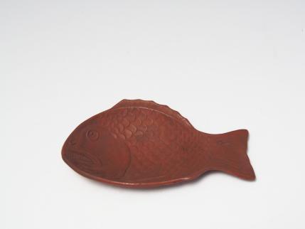 魚型皿 蓮華 備前焼