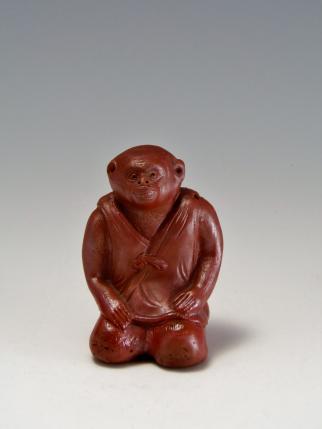 猿置物 陶器