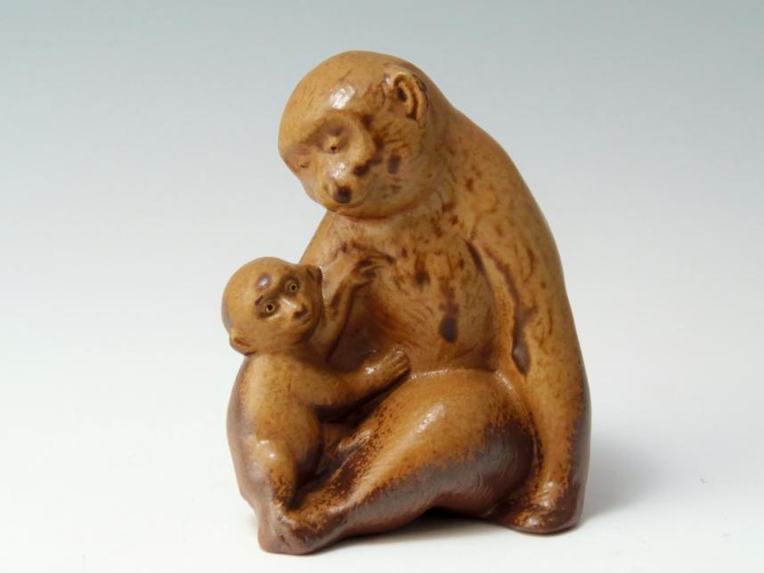 子連れ猿 置物 備前焼 骨董品