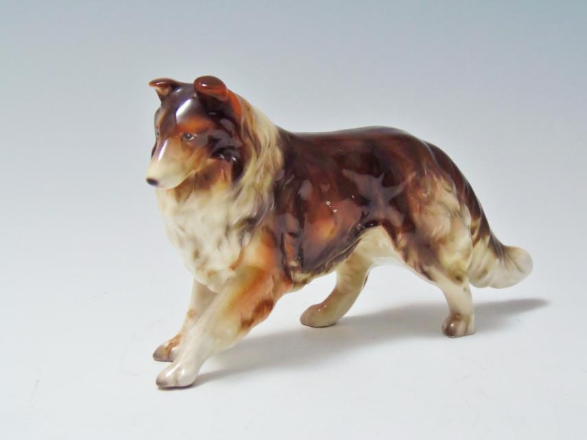 犬 置物 コリー 陶器