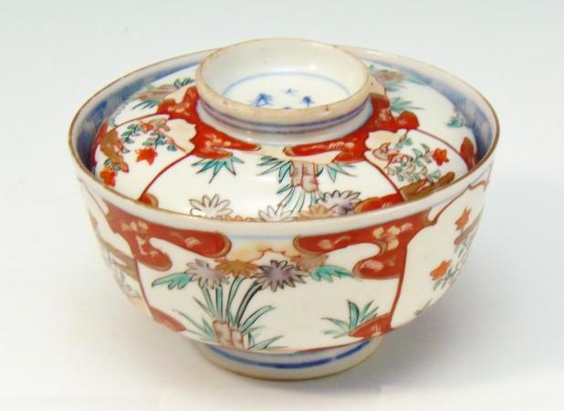 古伊万里 染錦 蓋付茶椀 大明年製の銘