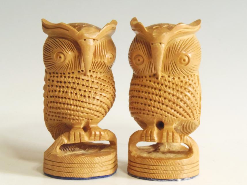 木彫り 夫婦フクロウ 置物