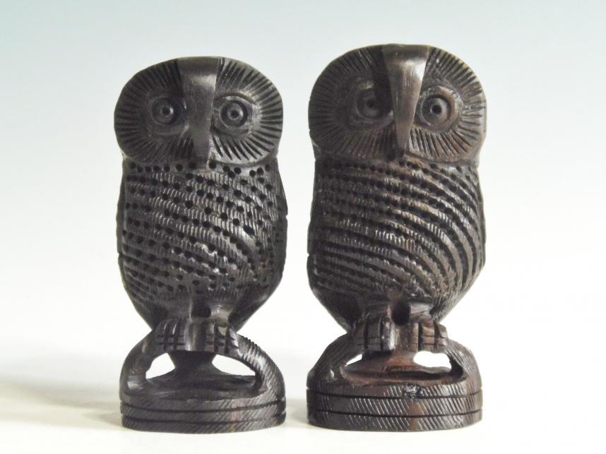 木彫り フクロウ ペア黒檀