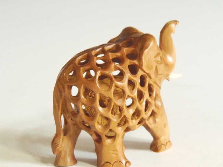 木彫り 子持ち象