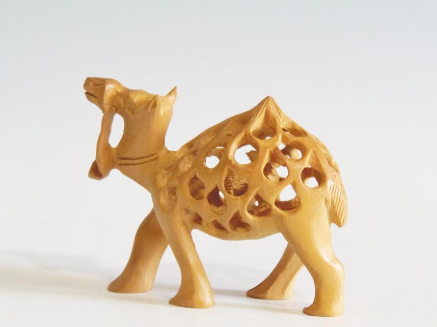 木彫り 置物 子持ラクダ