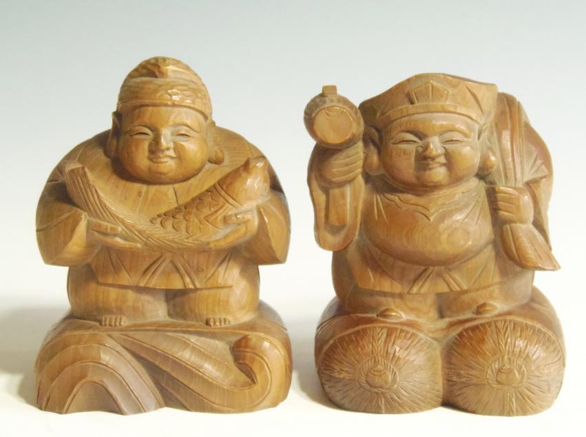 大黒天 恵比寿 木彫り