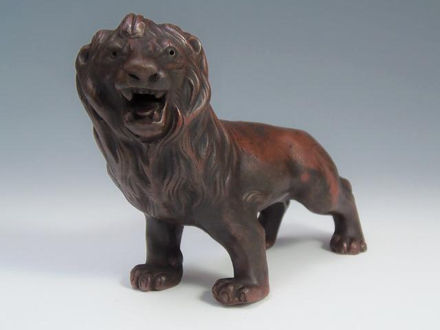 ライオン置物 古備前焼