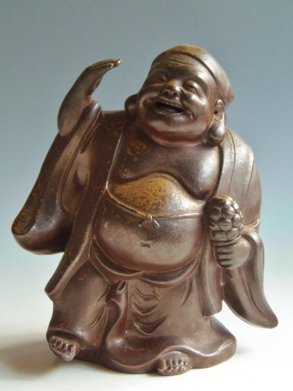 備前焼 置物 七福神 踊り布袋尊 木村陶峰