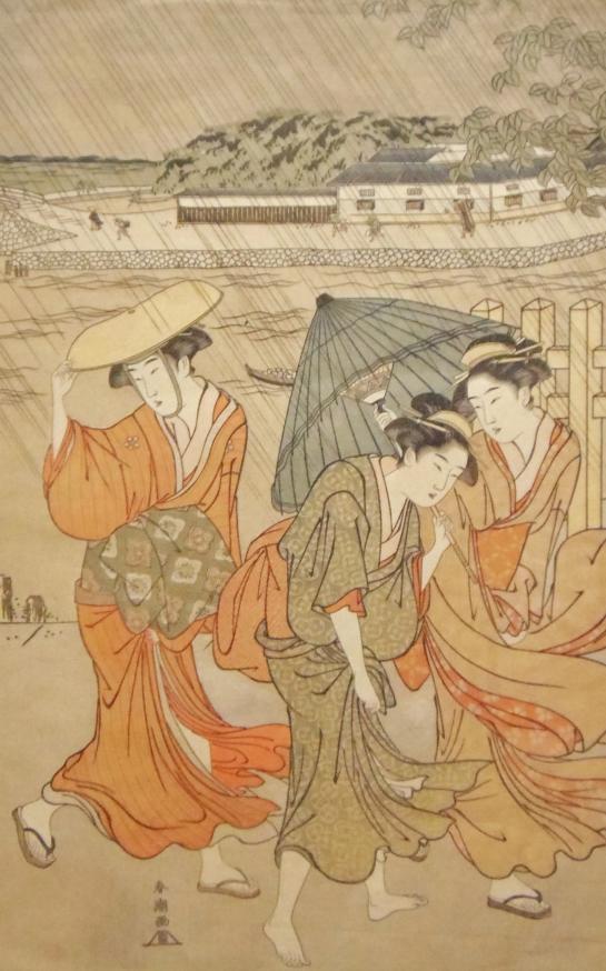 勝川春潮 にわか雨 木版画
