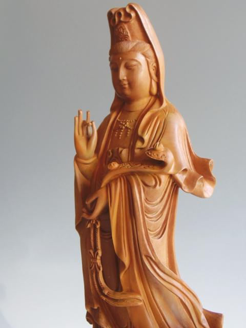 木彫り 置物 観音菩薩像