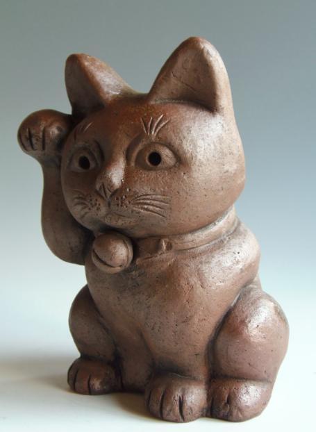 置物 猫 陶器