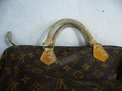 ルイ ヴィトン(LOUIS VUITTON)のバッグのヌメ革の部分にカビが生えました。
