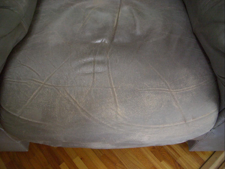 革のソファ座面修理 施工前