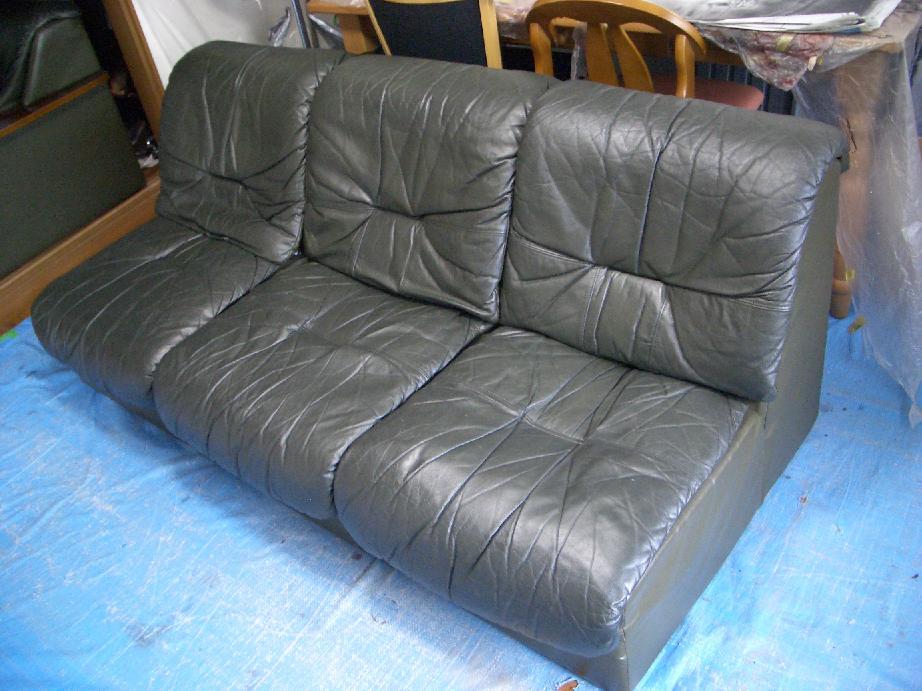 本革のソファ修理例 施工後 1