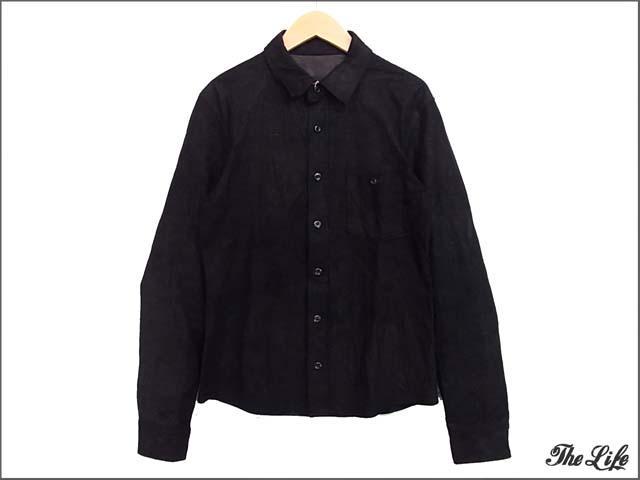 STRUMストラム/STL007-01/カンガルーレザーシャツ/黒/M