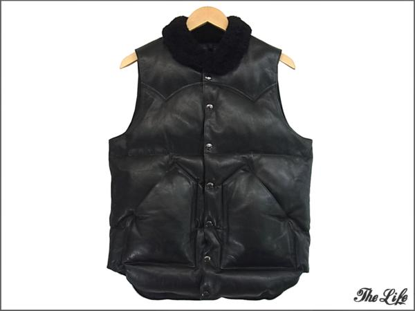 Rocky Mountain×uniform experimentダウンベスト38/黒/UE-112018/Rocky Mountain Featherbed LEATHER DOWN VEST/ロッキーマウンテン/ユニフォームエクスペリメント/レザー