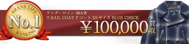 08AW T-RAIL COAT PコートXSサイズ 青チェック!【10万円】